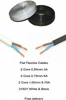 White or Black Flex Cable 2192Y Flat 2 Core 0.5mm 0.75mm 1mm 1.5mm 3-6-8.75 Amp