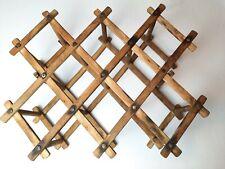 Vtg Expanding oak Wooden Folding Accordian Type Wine Rack 8 Bottle Mid Century