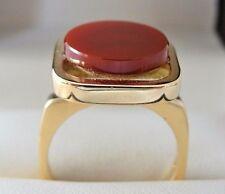 Pierre Cardin  Modernist 18k Yellow Gold Carnelian Ring Size 5 1/2