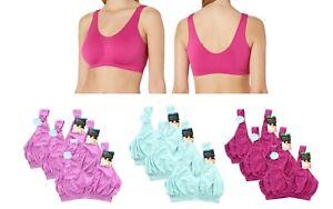 3 Pack Bali Crop Top Bra Comfort Revolution Womens Seamless Bralette, 103J