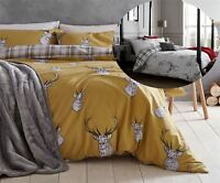 Catherine Lansfield Stag Reversible Duvet Cover Bedding Bed Set Ochre Or Grey