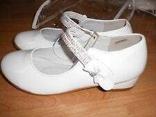 NEW Holy Communion / Bridesmaid / Party .Girls White Patent Shoes Size UK 1 -2
