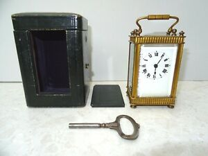 FRENCH BRASS CARRIAGE CLOCK WITH CASE AND KEY