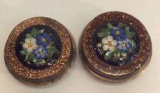Vintage Victorian 10K Mosaic Flowers Cufflinks With Gold Stones (J507)