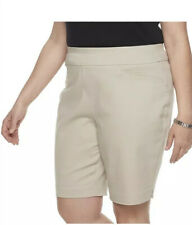 Croft & Barrow Women Mid Rise Bermuda Shorts Size 18 above the knee BEIGE COLOR