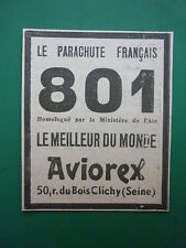 1934-35 PUB PARACHUTE AVIOREX 801 SAUVETAGE PILOTE CLICHY ORIGINAL AD