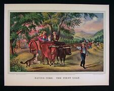 Currier and Ives Print - Haying Time The First Load - Farm Harvest Scene Ox Cart