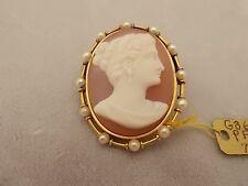 Beautiful 14k Gold Hard Stone Cameo Pin with Pearls (#323)