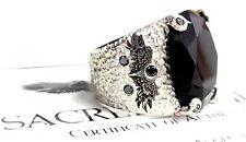 Men's Designer Angels Feather Ring Black Diamonds Sterling Silver 0.925 Custom