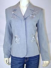 New Port New Style Works Gray Blazer Suit Jacket Womens Size 6 Small