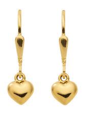 Mädchen Herz Ohrhänger Kinder Herzchen Ohrringe aus Echt Gold 333 (8 Kt) Herzen