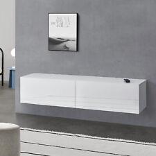 Lowboard Hängeboard mit Schranktüren Fernsehtisch Kommode Ablage Weiß hochglanz