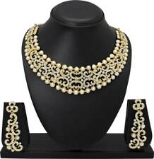 Choker Indian Traditional Ethnic Gold Plated Necklace Pearl Wedding Jewelry Set