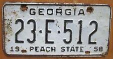 Georgia 1958 WARE COUNTY License Plate # 23-E-512