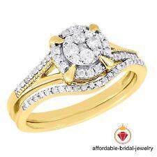 Round Diamond Wedding Bridal Set Yellow Gold Finish Halo Engagement Ring 1.30 Ct