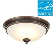 Commercial Electric 11 in. Oil-Rubbed Bronze Integrated LED Flushmount