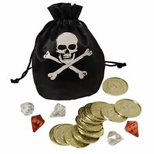 Pirate Coins & Pouch Skull & Crossbones Adult Childs Fancy Dress Accessory