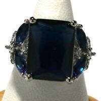 Antique Princess Cut Blue Sapphire Ring Nickel Free Women Jewelry Gift