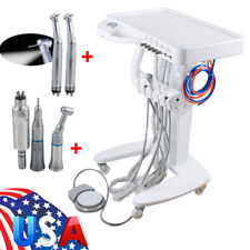 Portable Dental Delivery Cart Unit Wheel 3-way Syringe LED Handpiece Kit 4 Hole
