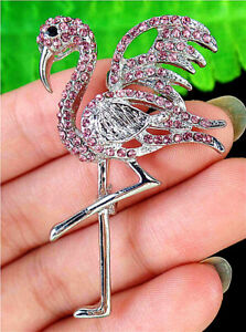 51x34x10mm Pink Brooch With Diamond Inlay In Alloy Flamingo Pendant AP11641