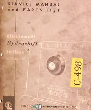 Cincinnati Lrt Hydrashift Lathe Service And Parts Manual 1962