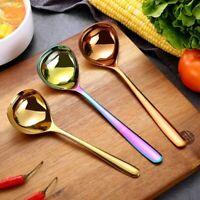 2Pcs/Set Stainless Steel Soup Spoon Korean Heavy Duty Deep Public Use Spoon