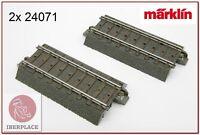 """H0 escala 1:87 ho maqueta trenes via C 70,8 mm / 2-13/16""""  2x Märklin 24071"""