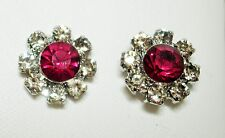 Charming Pink & Clear Glass Silver Tone Stud Earrings 10mm Post & Butterfly Back