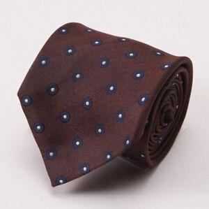 "NWT $195 LUCIANO BARBERA Chocolate Brown-Navy Blue Dot Pattern Silk Tie 3"""