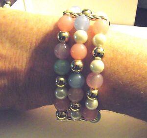 NWT Macy's Charter Club 3 Row Pastel,Pearl&GoldtoneBeads Stretch Bangle Bracelet