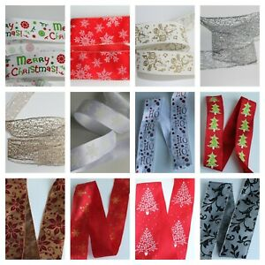 """Beautiful Christmas Craft Ribbon * 13 Designs in 1.5"""" or 2.5"""" Widths Wire Edge"""
