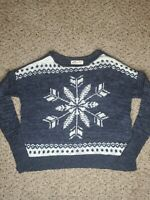 Hollister Blue Cable Knit Cardigan Sweater Womens Size XS/ Small Snowflake print