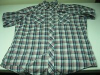 SEARS WESTERN WEAR  BLUE PLAID  ROCKABILLY PEARL SNAP SHIRT SIZE X-LARGE 17-17.5