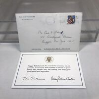 1998 White House Birthday Card President Bill Clinton & Hillary with Envelope