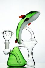 "Bong Water Pipe 8"" Smoking Tobacco Hookah New Glass DOLPHIN RIG RECYCLER"