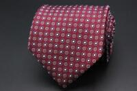 BROOKS BROTHERS Silk Tie. Maroon with Blue & Silver Geometric.