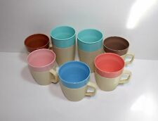 Lot of 7 Vintage raffiaware thermo temp coffee mugs cups insulated pastel colors
