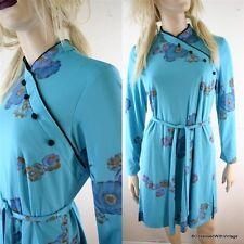 VTG 80's teal gold floral asian wiggle pencil dress L