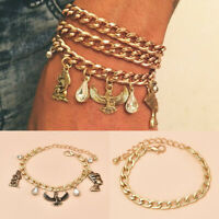 Women 3Pcs Adjustable Open Bangle Gold Plated Chain Bracelet Fashion Jewelry