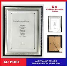 6 X Picture Photo A4 Frame Frames Black/silver (p2) Certificate Documents BULK