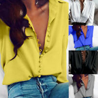 Sexy Womens V-Neck Long Sleeve Satin Loose Blouse Ladies Casual Shirt Solid Tops