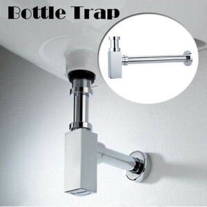 Chrome Bottle Trap Waste Bathroom Basin Sink Pipe With Extension Tube Adjustable