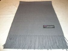 100% Cashmere Scarf Soft 72X12 Solid Grey Wool Made in Scotland Warm Wool Men