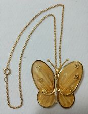 Gold Mesh Goldtone Butterfly Necklace with Tiny Flowers Taiwan