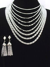 Vintage 1960s Sarah Coventry Fringe Tassel Earrings + 9 Chains Unsgnd Necklace