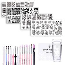 20Pcs Kit BORN PRETTY Nail Art Stamping Plate + Stamper & Scraper + UV Gel Brush