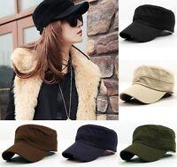 Fashion Plain Vintage Army Military Cadet Style Cotton Cap Hat Adjustable