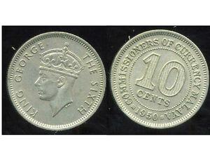 MALAISIE MALAISIE 10 cents 1950 ( Etat )
