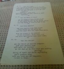 """Vintage TYPED SONG LYRICS SHEET """"SONGS FOR FUN"""" (HAPPY, ROMANTIC, CHRISTIAN)"""