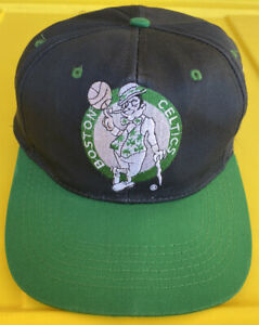 Vintage Boston Celtics Drew Pearson Plain Logo Snapback Hat Cap NBA YOUTH 2 Tone